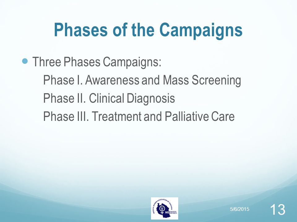 Phases of the Campaigns Three Phases Campaigns: Phase I. Awareness and Mass Screening Phase II. Clinical Diagnosis Phase III. Treatment and Palliative