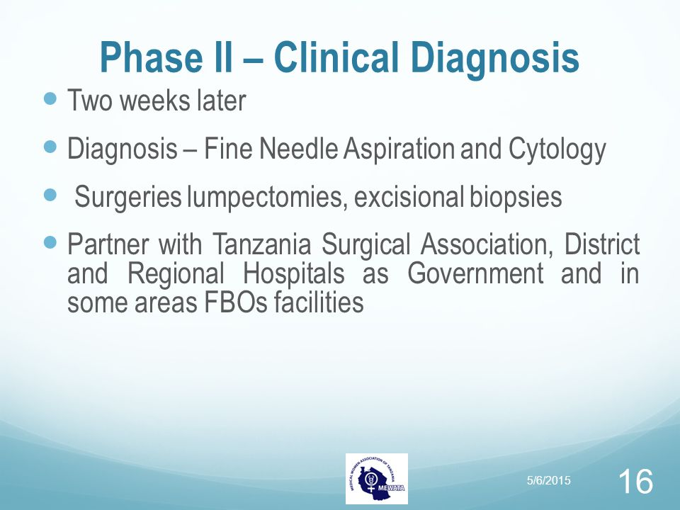 Phase II – Clinical Diagnosis Two weeks later Diagnosis – Fine Needle Aspiration and Cytology Surgeries lumpectomies, excisional biopsies Partner with