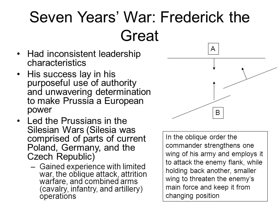 Seven Years' War: Frederick the Great Had inconsistent leadership characteristics His success lay in his purposeful use of authority and unwavering determination to make Prussia a European power Led the Prussians in the Silesian Wars (Silesia was comprised of parts of current Poland, Germany, and the Czech Republic) –Gained experience with limited war, the oblique attack, attrition warfare, and combined arms (cavalry, infantry, and artillery) operations In the oblique order the commander strengthens one wing of his army and employs it to attack the enemy flank, while holding back another, smaller wing to threaten the enemy's main force and keep it from changing position A B