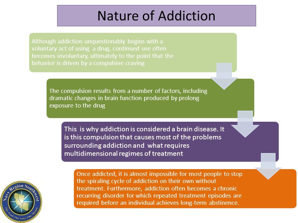 Nature of Addiction Addiction is a chronic, progressive, relapsing disorder characterized by compulsive use of one or more substances that result in physical, psychological, or social harm to the individual and continued use of the substance or substances despite this harm.