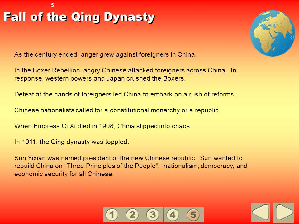 Fall of the Qing Dynasty As the century ended, anger grew against foreigners in China. In the Boxer Rebellion, angry Chinese attacked foreigners acros