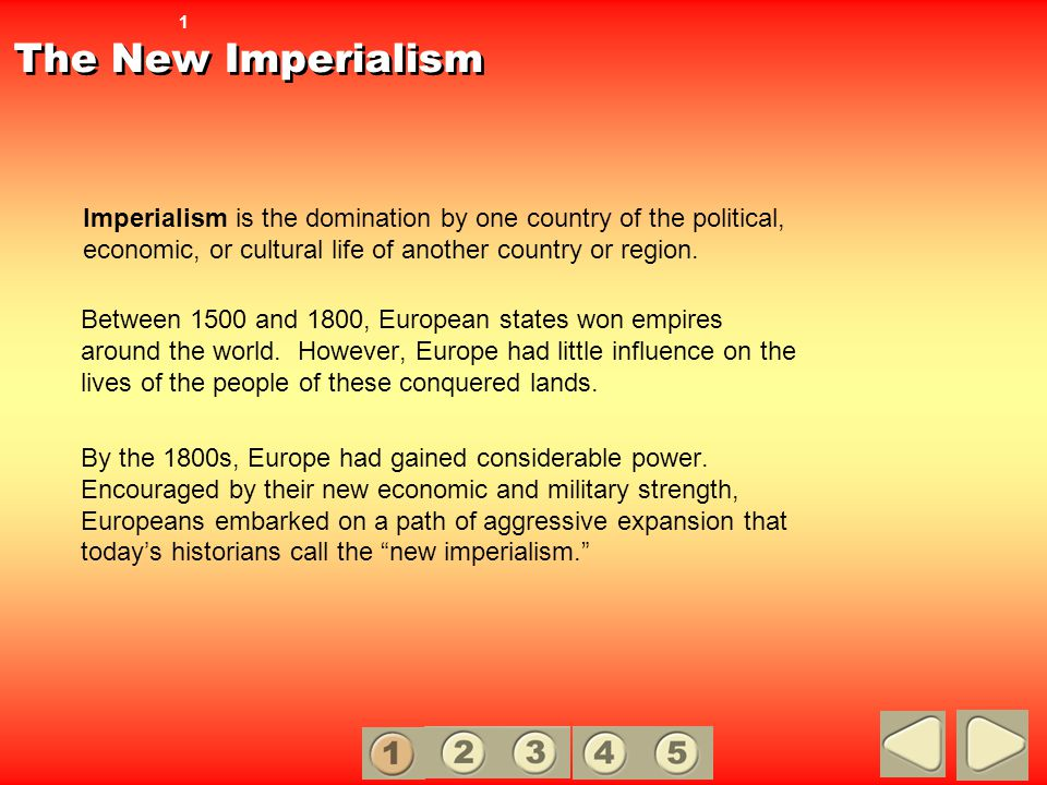 Causes of Imperialism Many westerners viewed European races as superior to all others.