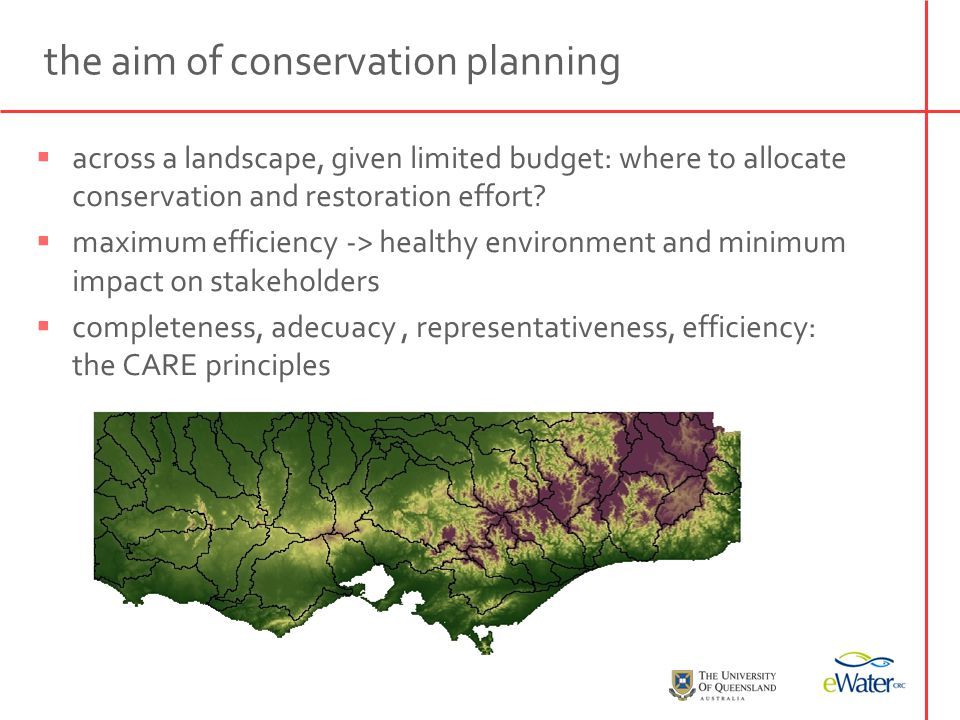 set conservation targets (species, habitats, ecoregions) optimisation algorithm (complementarity-based) minimum set (the best plan fulfilling all targets) irreplaceability map (how important is the unit for alternative plans) systematic conservation planning see Margules & Pressey, Nature, 2000