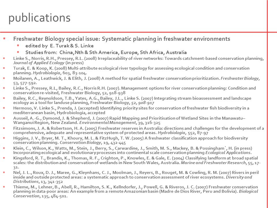 publications  Freshwater Biology special issue: Systematic planning in freshwater environments  edited by E.