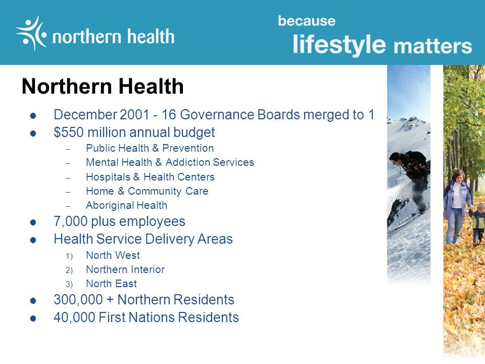 Northern Health December 2001 - 16 Governance Boards merged to 1 $550 million annual budget – Public Health & Prevention – Mental Health & Addiction Services – Hospitals & Health Centers – Home & Community Care – Aboriginal Health 7,000 plus employees Health Service Delivery Areas 1) North West 2) Northern Interior 3) North East 300,000 + Northern Residents 40,000 First Nations Residents