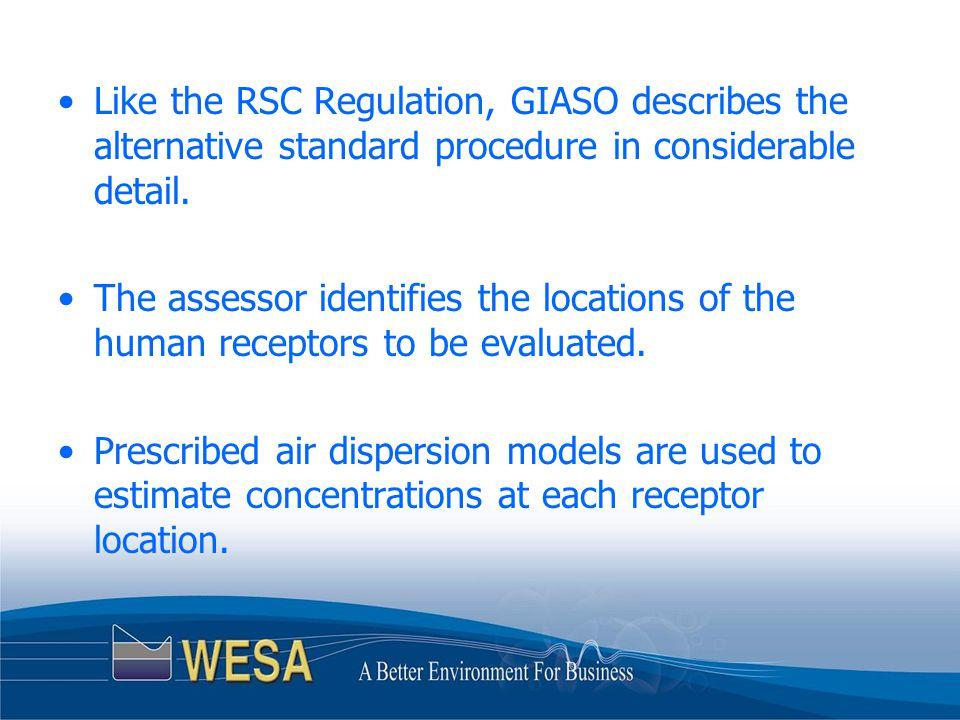 Like the RSC Regulation, GIASO describes the alternative standard procedure in considerable detail.