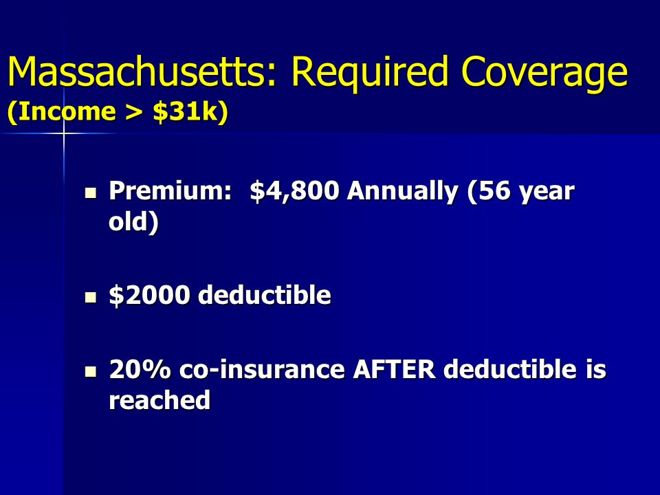Massachusetts: Required Coverage (Income > $31k) Premium: $4,800 Annually (56 year old) Premium: $4,800 Annually (56 year old) $2000 deductible $2000