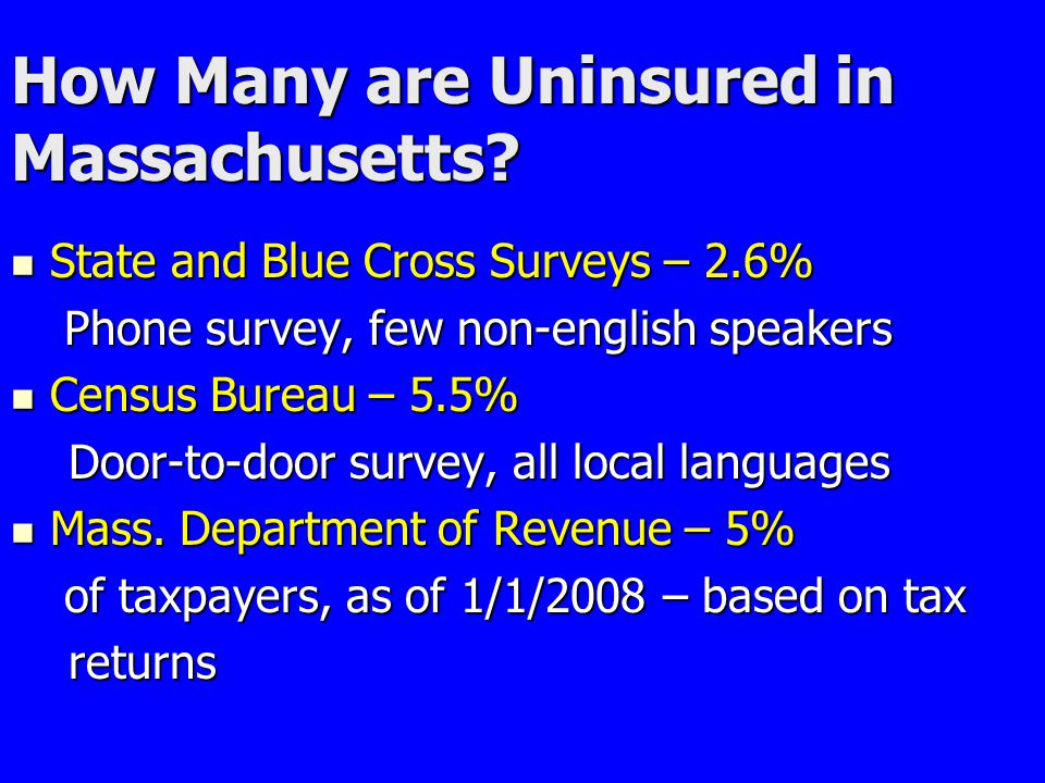 How Many are Uninsured in Massachusetts? State and Blue Cross Surveys – 2.6% State and Blue Cross Surveys – 2.6% Phone survey, few non-english speaker
