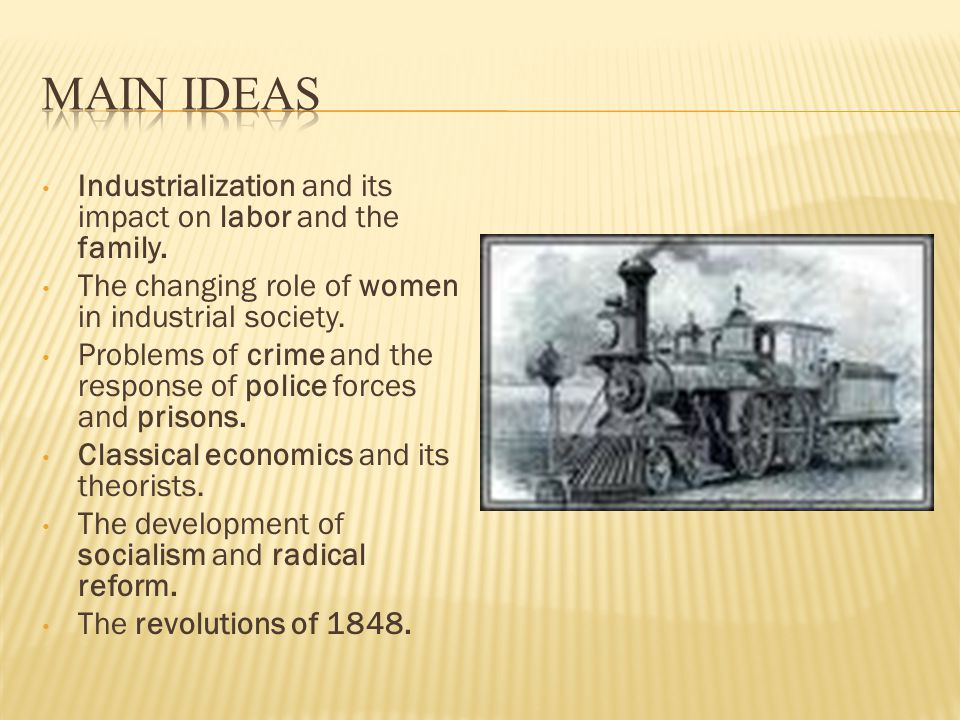 Industrialization and its impact on labor and the family.