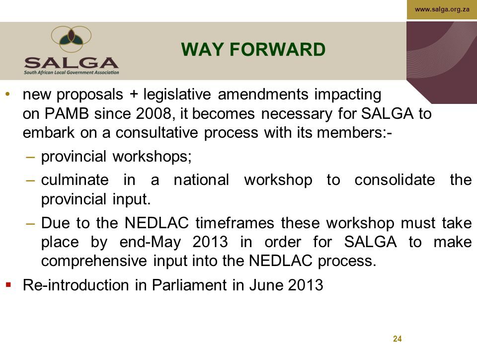 www.salga.org.za 24 WAY FORWARD new proposals + legislative amendments impacting on PAMB since 2008, it becomes necessary for SALGA to embark on a consultative process with its members:- –provincial workshops; –culminate in a national workshop to consolidate the provincial input.