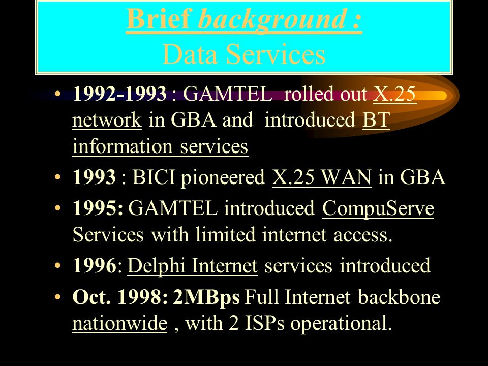 Presentation Framework Brief background of ICT in the Gambia Achievements : ICT infrastructure, services Key Players & issues: ICT based economy Constraints : Education and SBCs Way Forward : strategic Deployment Conclusion and Recommendations