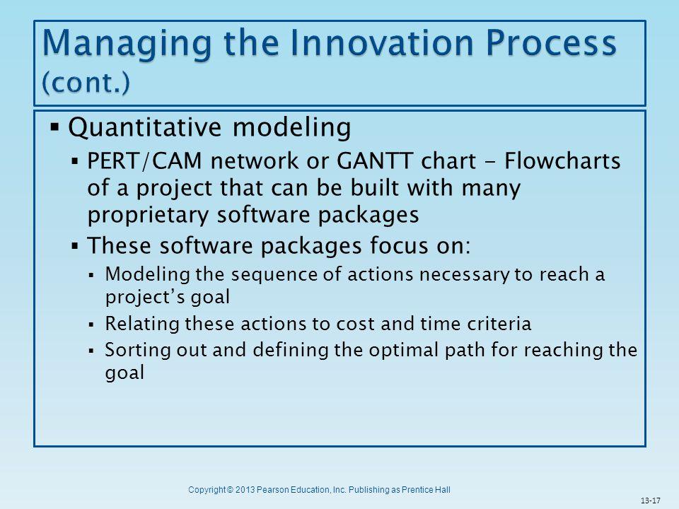 Copyright © 2013 Pearson Education, Inc. Publishing as Prentice Hall  Quantitative modeling  PERT/CAM network or GANTT chart - Flowcharts of a proje