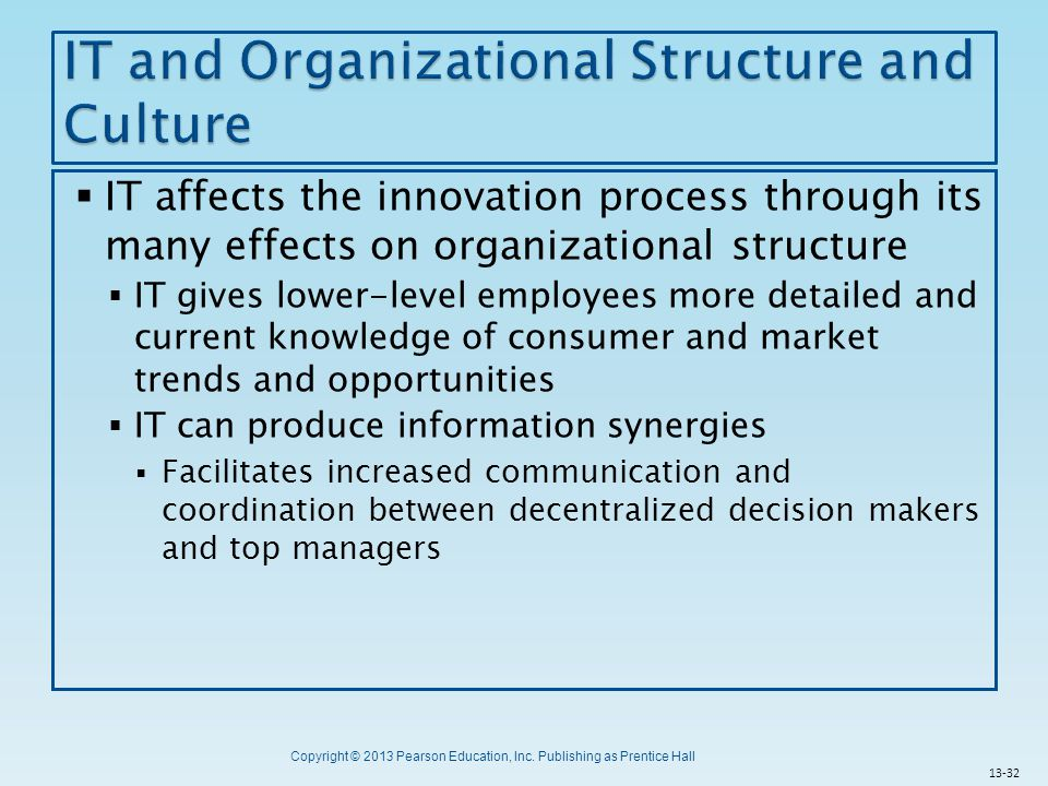 Copyright © 2013 Pearson Education, Inc. Publishing as Prentice Hall  IT affects the innovation process through its many effects on organizational st