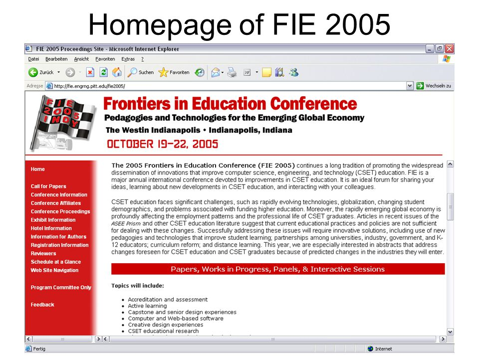 Kay Schützler, Baile Herculane, 28.08. - 03.09.053 Homepage of FIE 2005