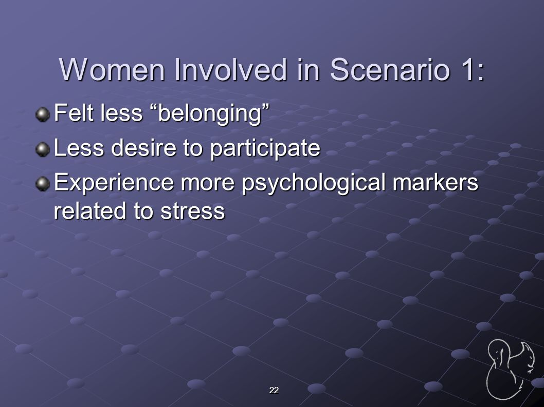 """22 Women Involved in Scenario 1: Felt less """"belonging"""" Less desire to participate Experience more psychological markers related to stress"""