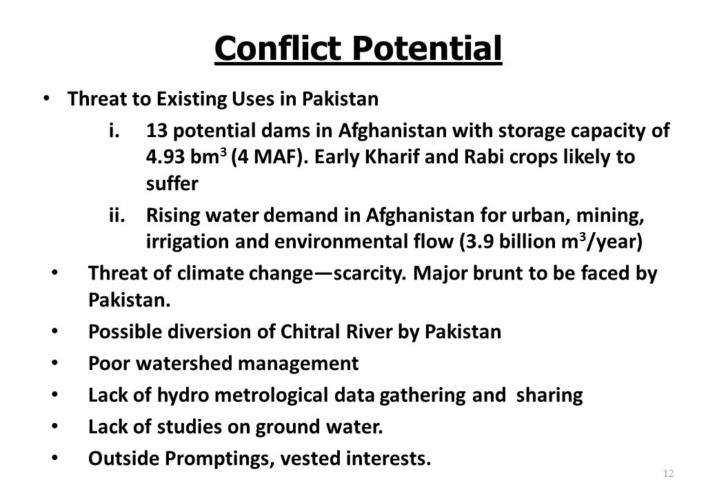 Conflict Potential Threat to Existing Uses in Pakistan i.13 potential dams in Afghanistan with storage capacity of 4.93 bm 3 (4 MAF). Early Kharif and