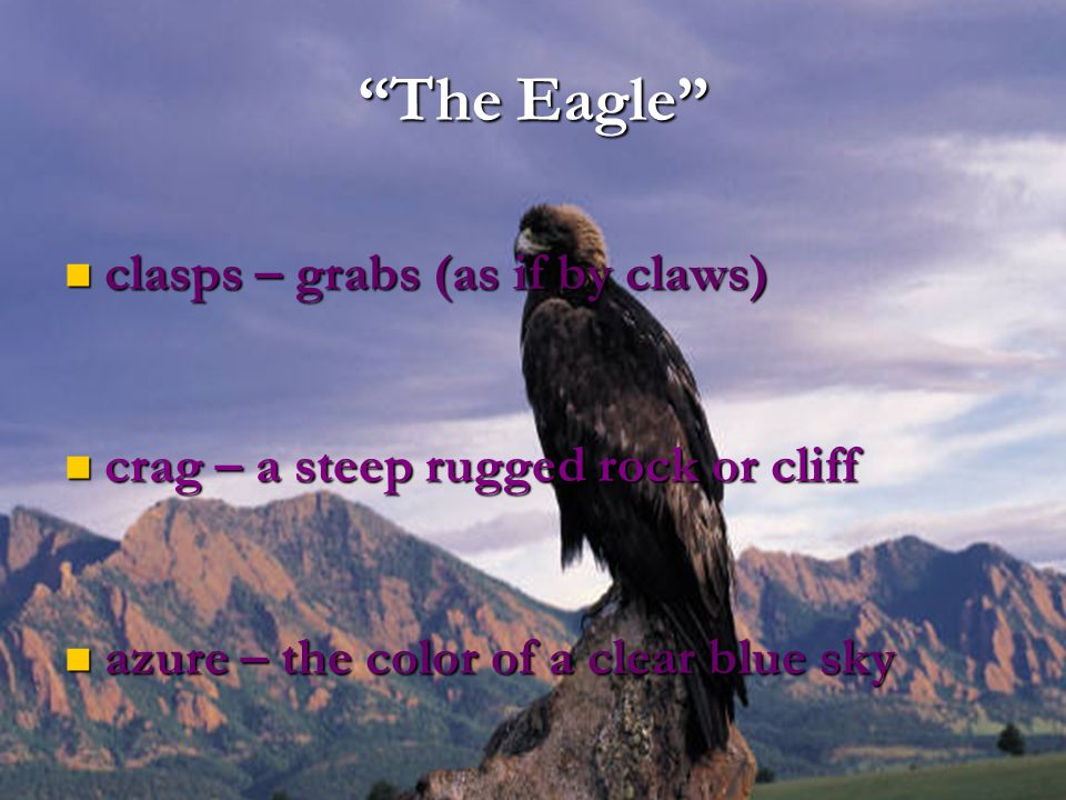 """""""The Eagle"""" clasps – grabs (as if by claws) clasps – grabs (as if by claws) crag – a steep rugged rock or cliff crag – a steep rugged rock or cliff az"""