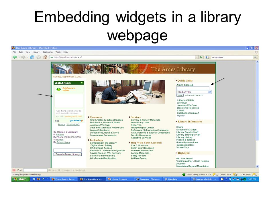Embedding widgets in a library webpage