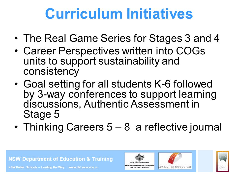 NSW Department of Education & Training NSW Public Schools – Leading the Way www.det.nsw.edu.au Curriculum Initiatives The Real Game Series for Stages