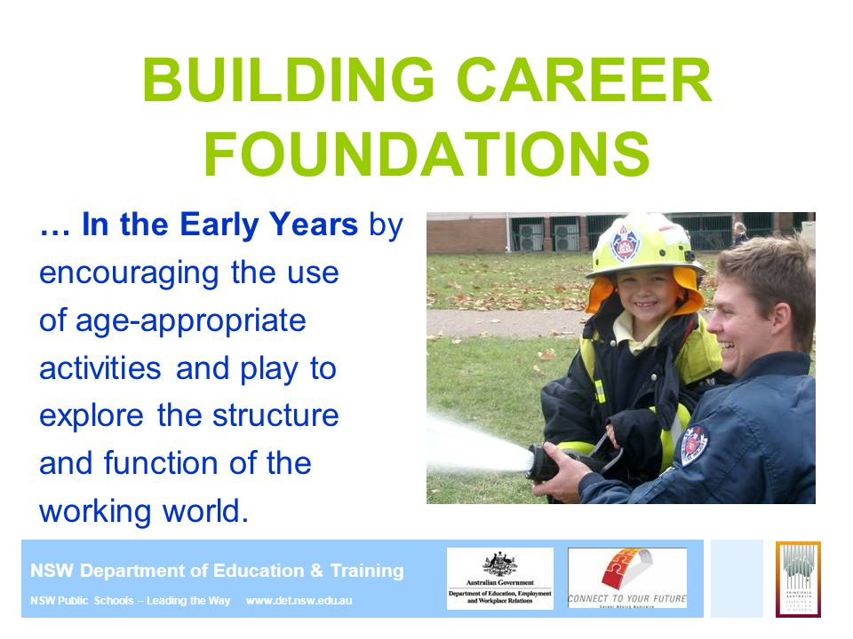 NSW Department of Education & Training NSW Public Schools – Leading the Way www.det.nsw.edu.au BUILDING CAREER FOUNDATIONS … In the Early Years by enc