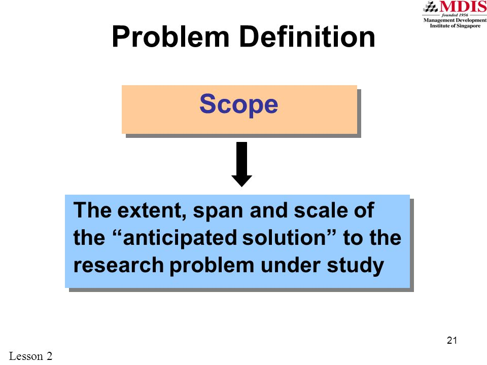 21 Problem Definition Scope The extent, span and scale of the anticipated solution to the research problem under study Lesson 2