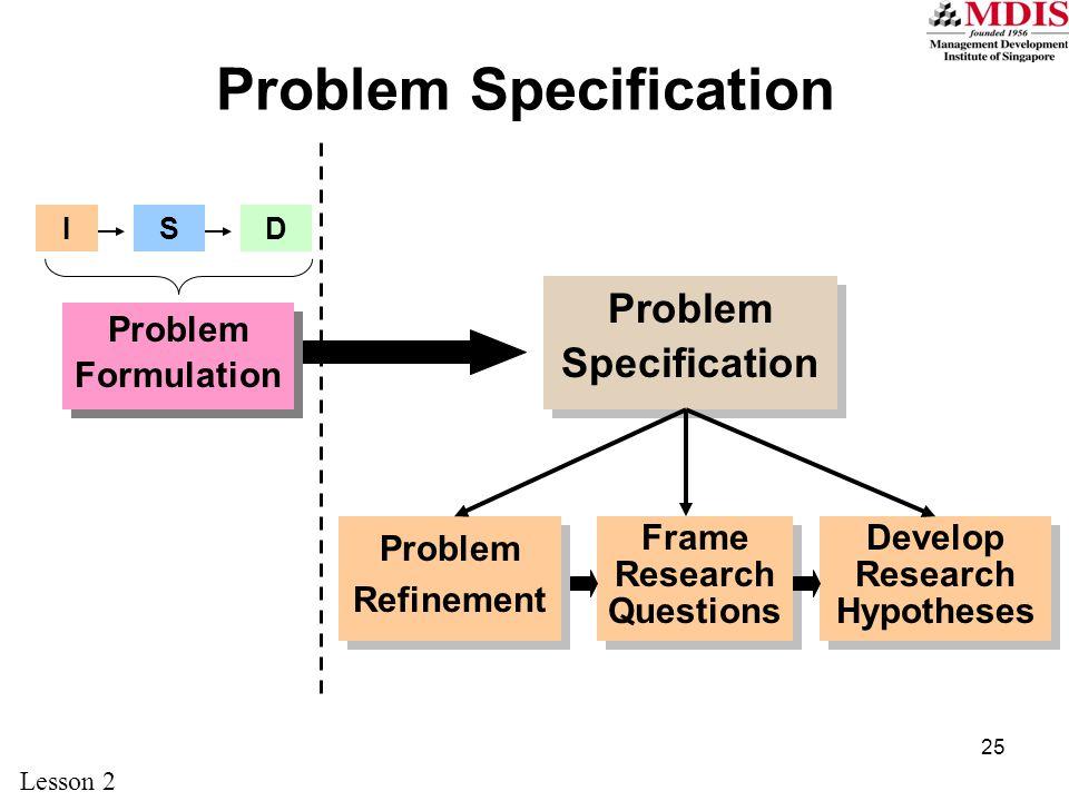 25 Problem Specification Problem Refinement Problem Formulation ISD Frame Research Questions Develop Research Hypotheses Lesson 2