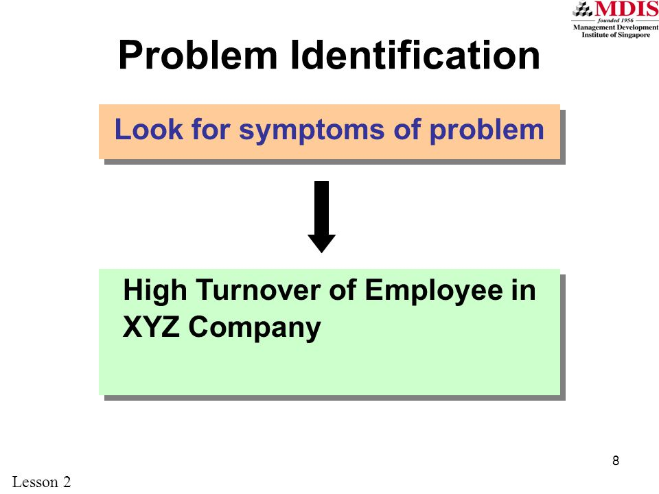 8 Problem Identification Look for symptoms of problem High Turnover of Employee in XYZ Company Lesson 2