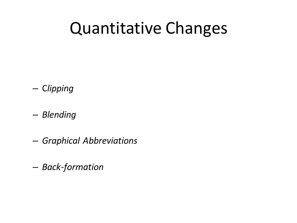 Quantitative Changes – Clipping – Blending – Graphical Abbreviations – Back-formation