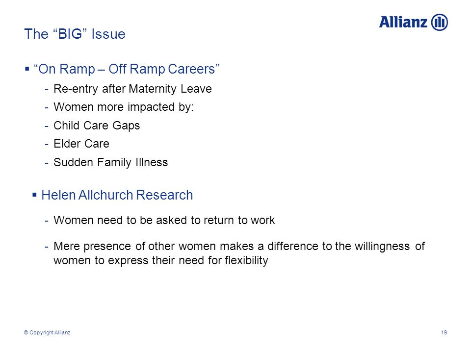 © Copyright Allianz19 The BIG Issue  On Ramp – Off Ramp Careers -Re-entry after Maternity Leave -Women more impacted by: -Child Care Gaps -Elder Care -Sudden Family Illness  Helen Allchurch Research -Women need to be asked to return to work -Mere presence of other women makes a difference to the willingness of women to express their need for flexibility