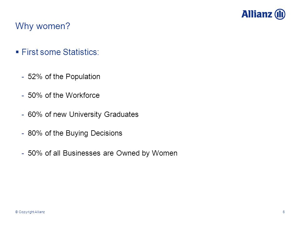 © Copyright Allianz6 Why women.