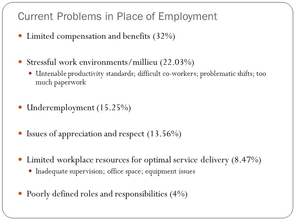 Current Problems in Place of Employment Limited compensation and benefits (32%) Stressful work environments/millieu (22.03%) Untenable productivity standards; difficult co-workers; problematic shifts; too much paperwork Underemployment (15.25%) Issues of appreciation and respect (13.56%) Limited workplace resources for optimal service delivery (8.47%) Inadequate supervision; office space; equipment issues Poorly defined roles and responsibilities (4%)