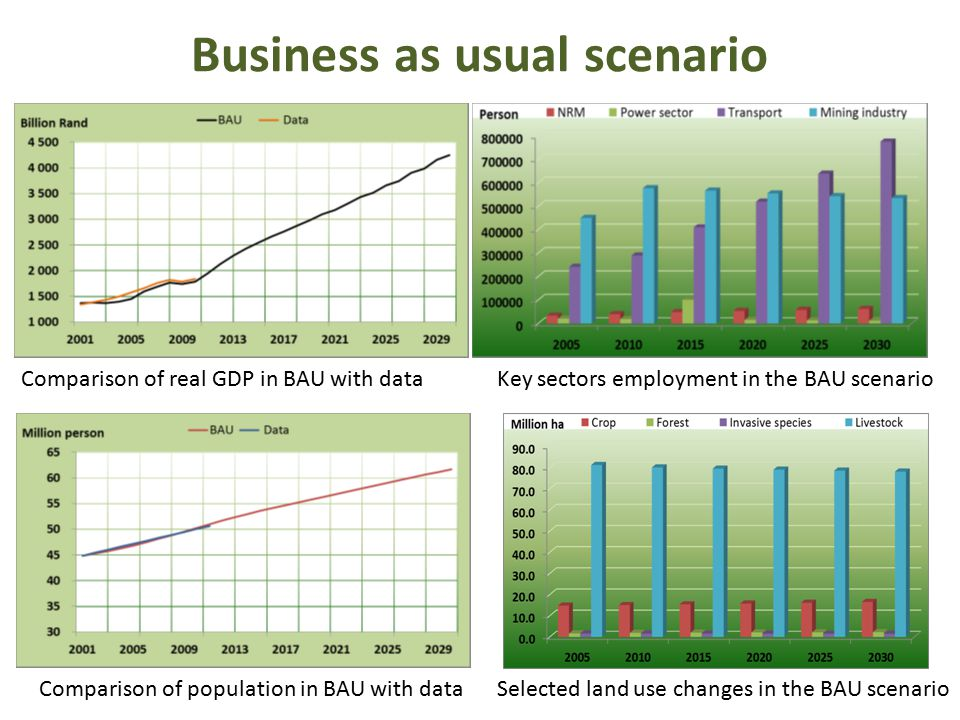 Business as usual scenario Comparison of real GDP in BAU with data Key sectors employment in the BAU scenario Comparison of population in BAU with data Selected land use changes in the BAU scenario