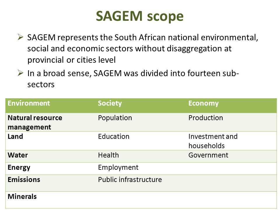 SAGEM scope  SAGEM represents the South African national environmental, social and economic sectors without disaggregation at provincial or cities le
