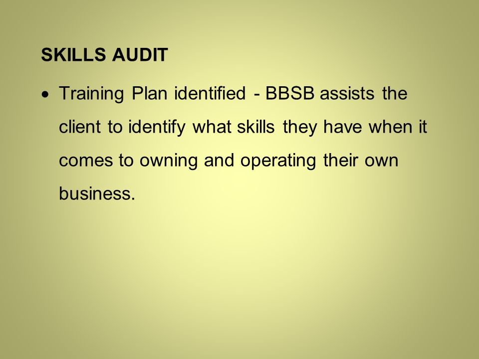 SKILLS AUDIT  Training Plan identified - BBSB assists the client to identify what skills they have when it comes to owning and operating their own business.