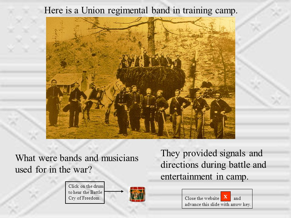 Here is a Union regimental band in training camp.