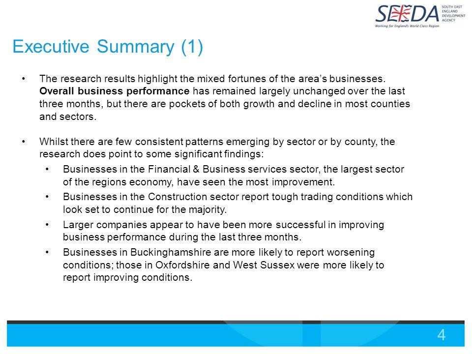 4 Executive Summary (1) The research results highlight the mixed fortunes of the area's businesses.