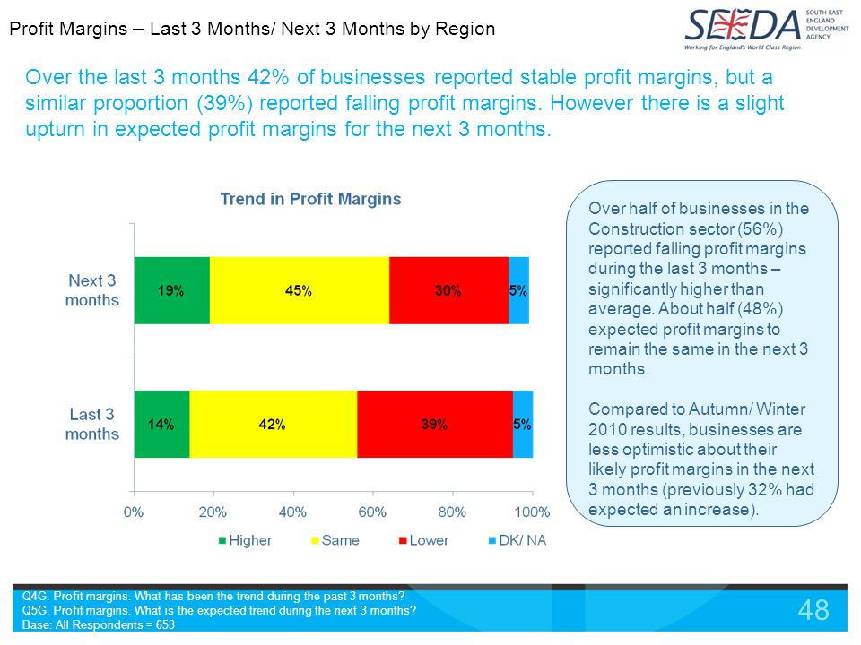 48 Over the last 3 months 42% of businesses reported stable profit margins, but a similar proportion (39%) reported falling profit margins.