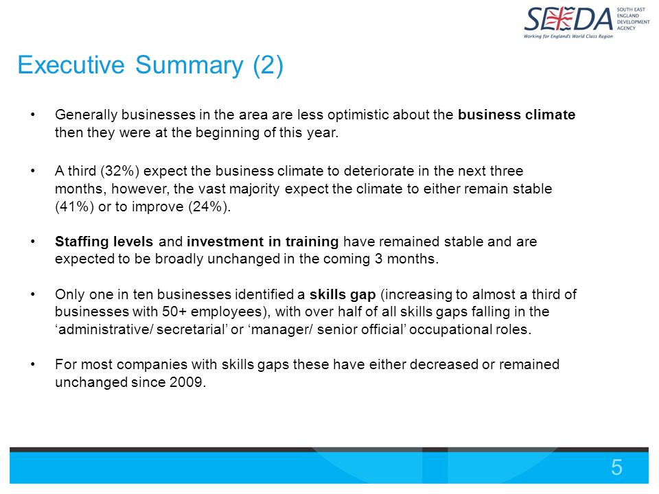 5 Executive Summary (2) Generally businesses in the area are less optimistic about the business climate then they were at the beginning of this year.