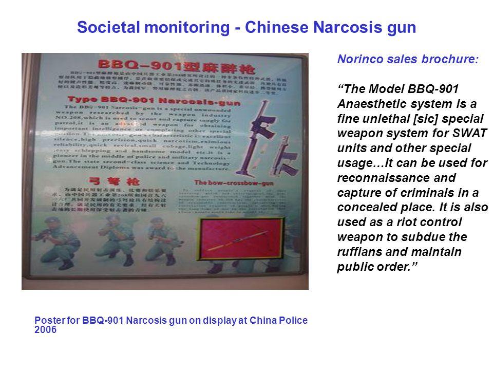 """Societal monitoring - Chinese Narcosis gun Poster for BBQ-901 Narcosis gun on display at China Police 2006 Norinco sales brochure: """"The Model BBQ-901"""