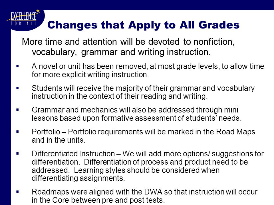 Changes that Apply to All Grades More time and attention will be devoted to nonfiction, vocabulary, grammar and writing instruction.