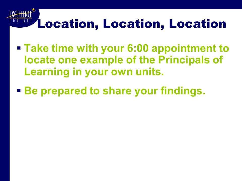 Location, Location, Location  Take time with your 6:00 appointment to locate one example of the Principals of Learning in your own units.