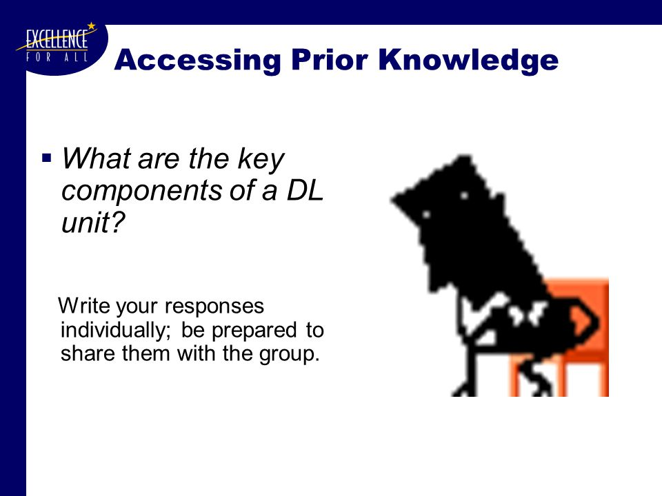 Accessing Prior Knowledge  What are the key components of a DL unit.