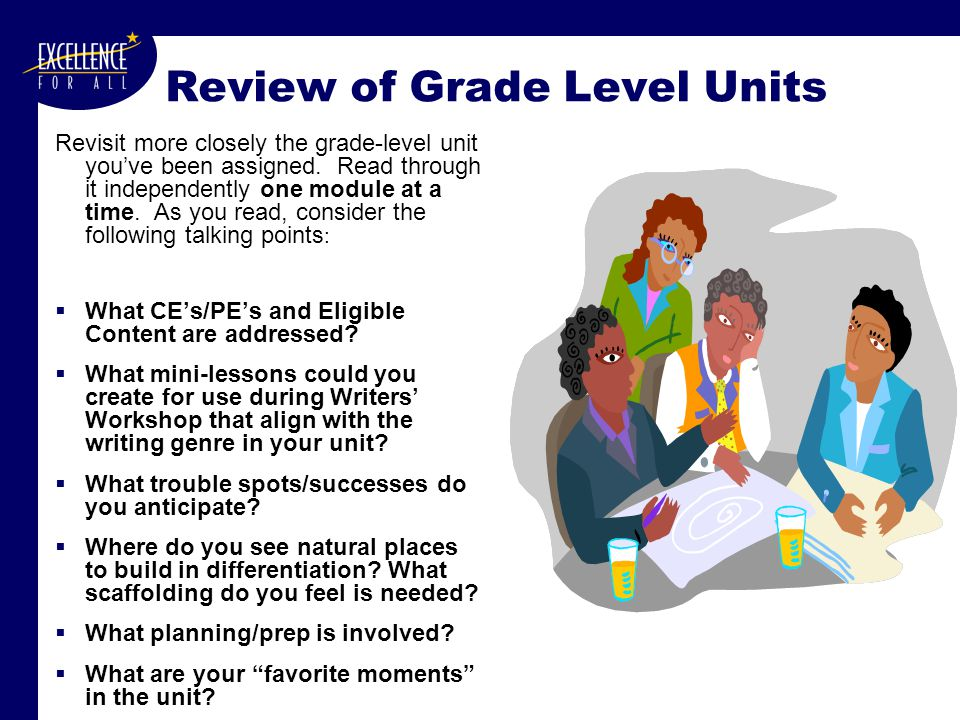 Review of Grade Level Units Revisit more closely the grade-level unit you've been assigned.