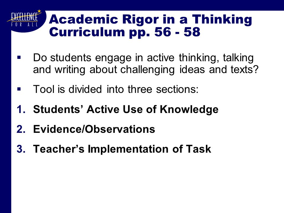 Academic Rigor in a Thinking Curriculum pp.