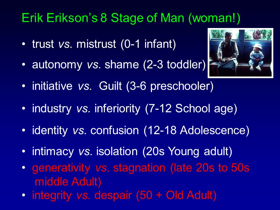 Erik Erikson's 8 Stage of Man (woman!) trust vs. mistrust (0-1 infant) autonomy vs.
