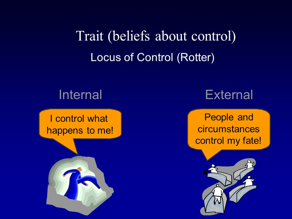 Locus of Control (Rotter) Internal External I control what happens to me.