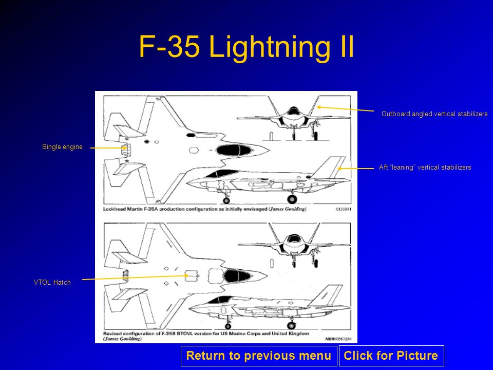 F-35 Lightning II Aft leaning vertical stabilizers Outboard angled vertical stabilizers Single engine VTOL Hatch Return to previous menu Click for Picture