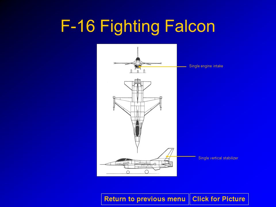 F-16 Fighting Falcon Single vertical stabilizer Single engine intake Return to previous menu Click for Picture