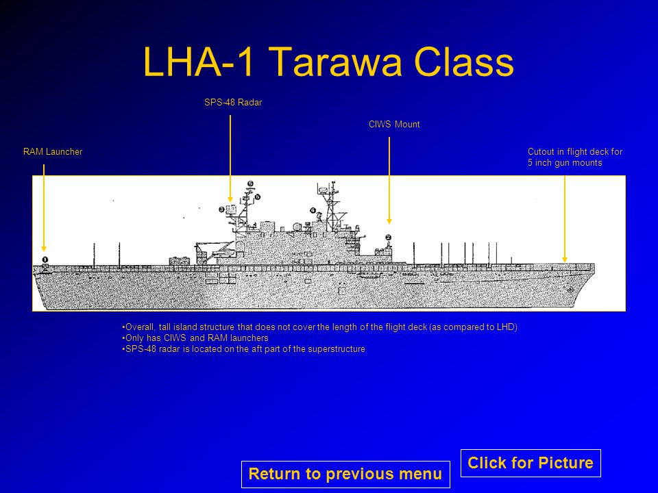 LHA-1 Tarawa Class CIWS Mount Cutout in flight deck for 5 inch gun mounts RAM Launcher Overall, tall island structure that does not cover the length of the flight deck (as compared to LHD) Only has CIWS and RAM launchers SPS-48 radar is located on the aft part of the superstructure SPS-48 Radar Return to previous menu Click for Picture