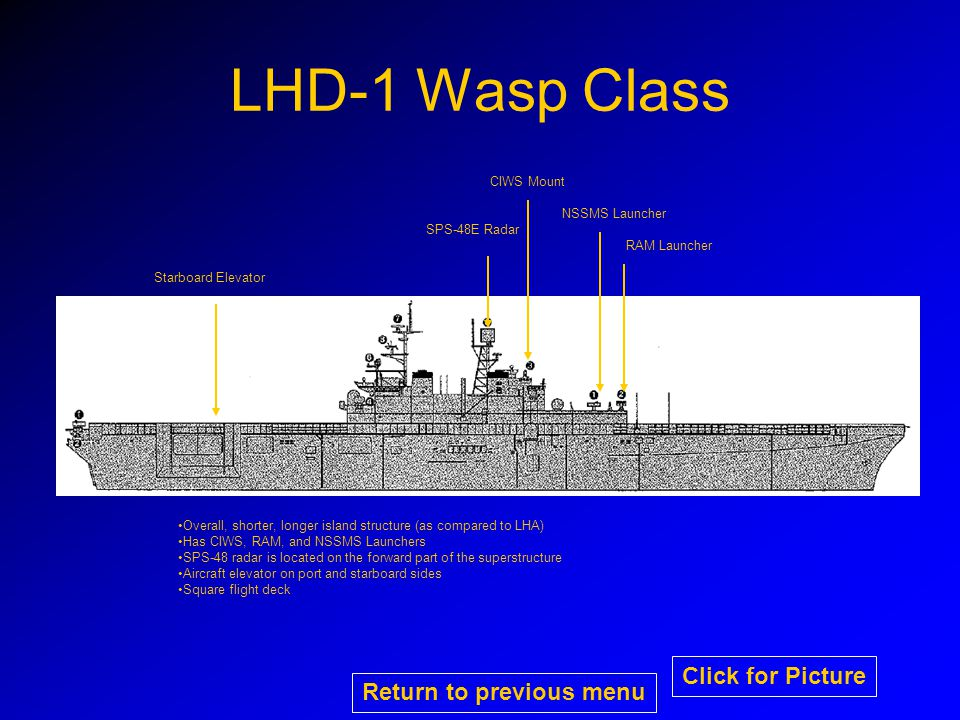 LHD-1 Wasp Class RAM Launcher NSSMS Launcher CIWS Mount SPS-48E Radar Starboard Elevator Overall, shorter, longer island structure (as compared to LHA) Has CIWS, RAM, and NSSMS Launchers SPS-48 radar is located on the forward part of the superstructure Aircraft elevator on port and starboard sides Square flight deck Return to previous menu Click for Picture